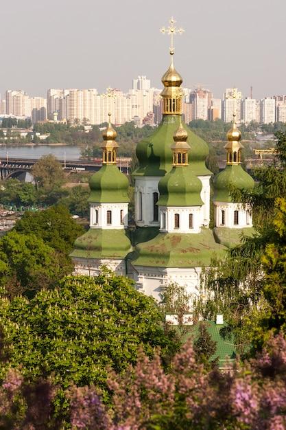 Весенний вид выдубицкого монастыря и реки днепр с цветами сирени в ботаническом саду в киеве, украина Premium Фотографии