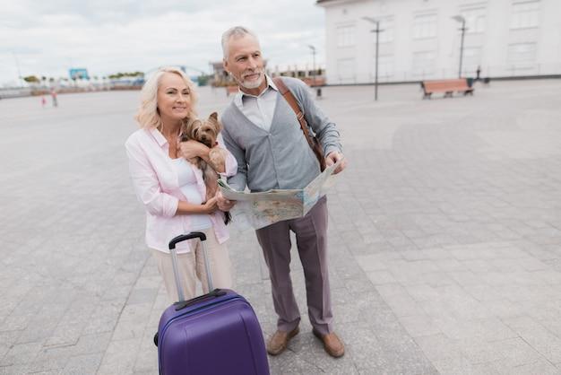 老夫婦は彼らの小さな犬と一緒に堤防に沿って歩きます Premium写真