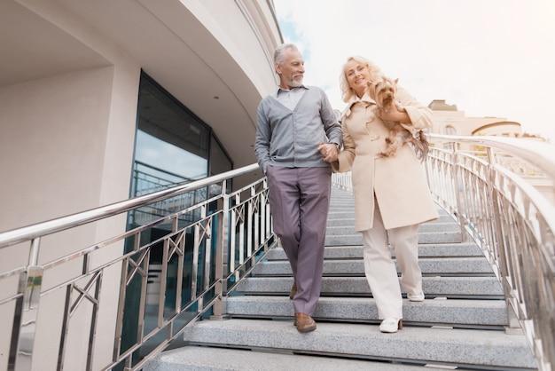 Пожилая пара гуляет. у женщины на руках собака. Premium Фотографии