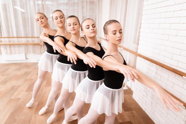 リトルバレエダンサーが踊りの訓練をします。 Premium写真