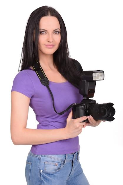仕事で魅力的な女性写真家 Premium写真