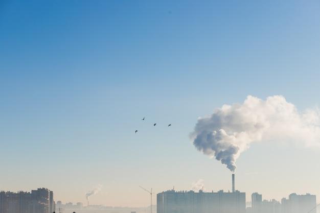Загрязнение над городом в морозное утро, концепция экологии. Premium Фотографии