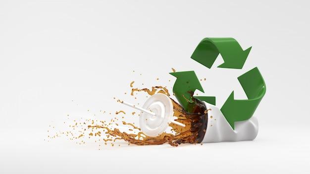 白い背景の上のスプラッシュ水と緑のリサイクルシンボル Premium写真