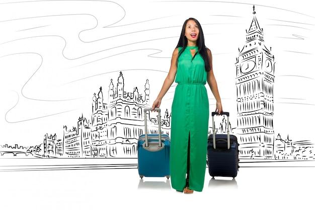 イギリスのロンドンへの旅行若い女性 Premium写真