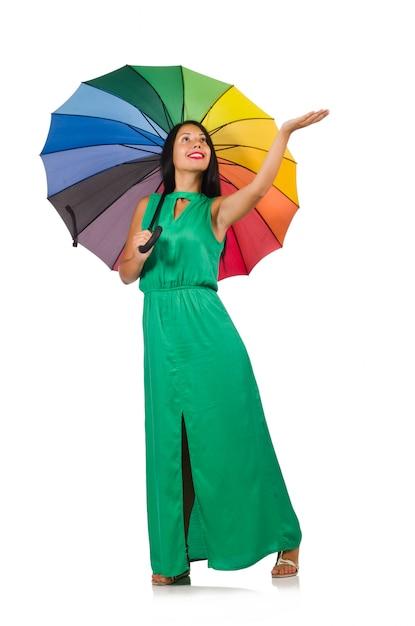 Изолированная женщина зонтика белая Premium Фотографии