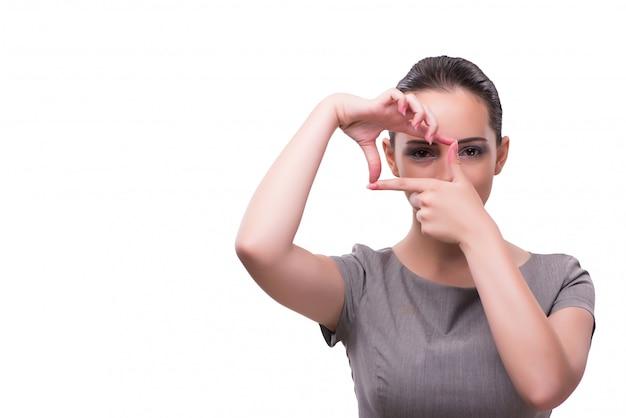 フレームの形で手を繋いでいる若い実業家 Premium写真