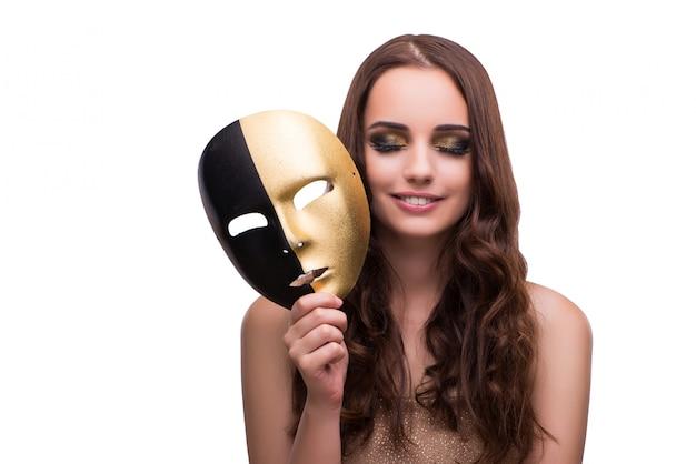白で隔離カーニバルマスクを持つ女性 Premium写真