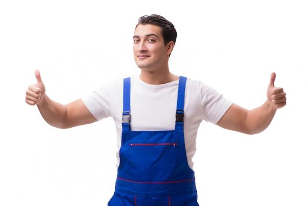 白で隔離つなぎ服を着ているハンサムな修理人 Premium写真