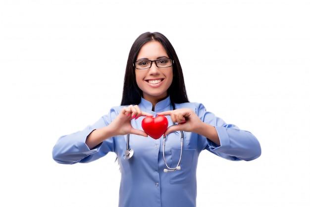白で隔離医療コンセプトで若い女性医師 Premium写真