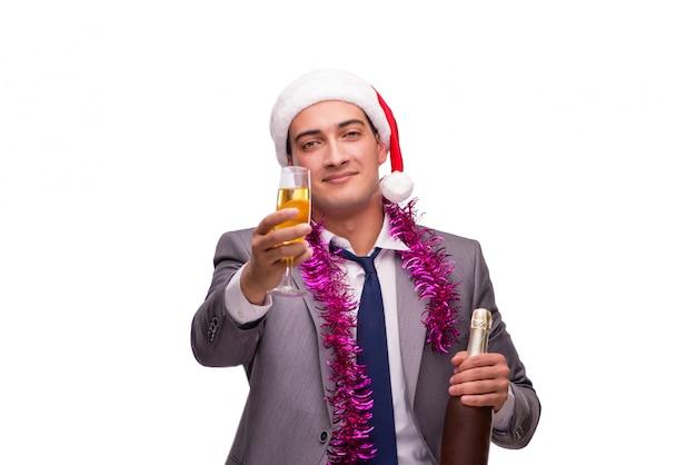 青年実業家のオフィスでクリスマスを祝う Premium写真