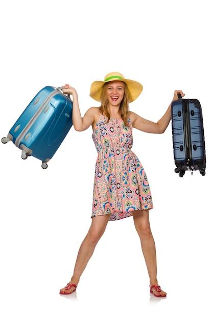 分離されたスーツケースを持つ女性 Premium写真
