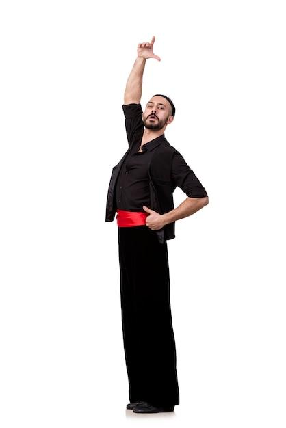 分離されたスペインの踊りを踊る男ダンサー Premium写真