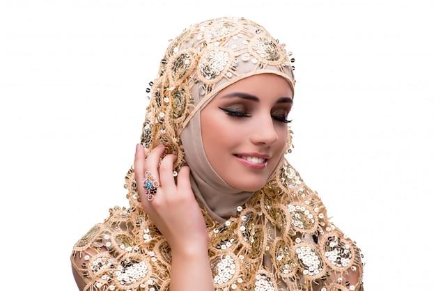 分離されたファッション概念のイスラム教徒の女性 Premium写真