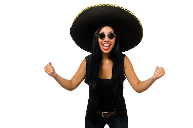 白で隔離ソンブレロを身に着けている若いメキシコ人女性 Premium写真