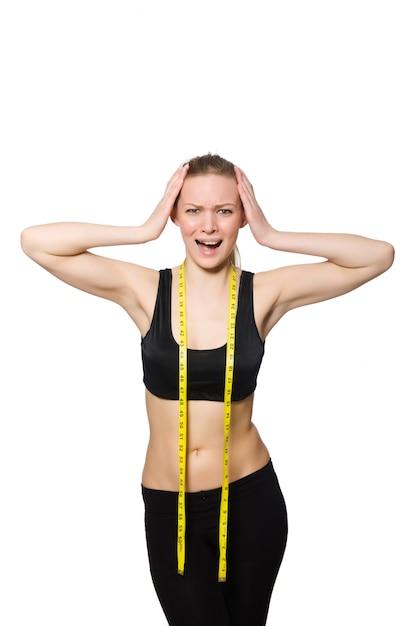 白で隔離スポーツコンセプトの女性 Premium写真