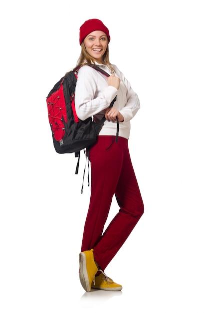 白で隔離されるバックパックと面白い学生 Premium写真