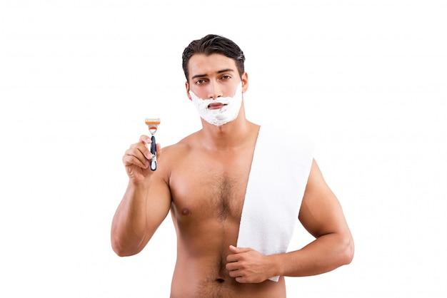 Красивый бритье человека изолированное на белизне Premium Фотографии