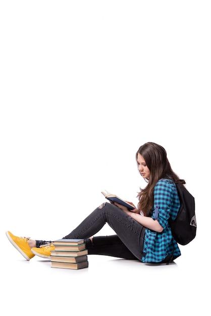 若い学生が学校試験の準備をしています Premium写真