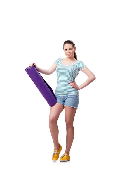 スポーツコンセプト、白で隔離される若い女性 Premium写真