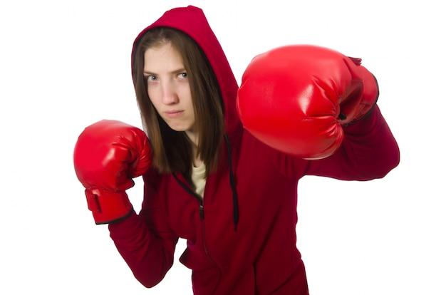 女性ボクサー、白で隔離 Premium写真