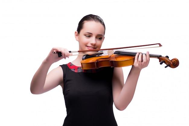 白で隔離されエレガントな若いバイオリン奏者 Premium写真