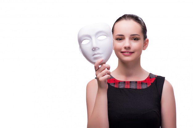 白で隔離マスクを持つ若い女 Premium写真
