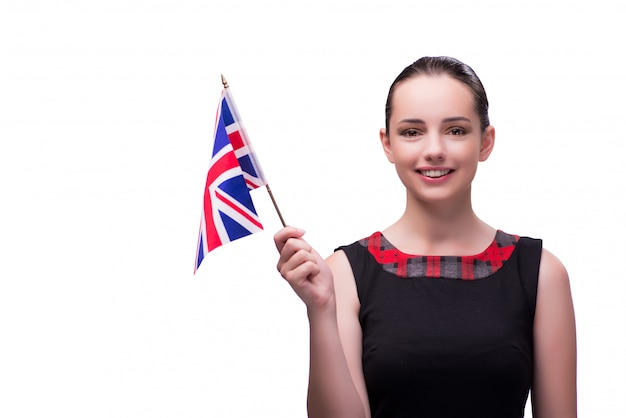 イギリスの旗を保持している若い女性 Premium写真