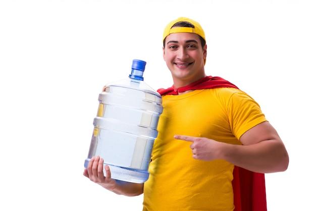 Человек, доставляющий бутылку воды изолированы Premium Фотографии