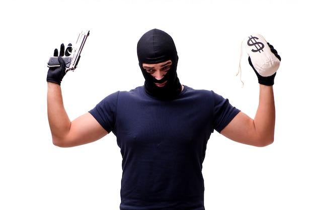 白で隔離目出し帽を身に着けている強盗 Premium写真
