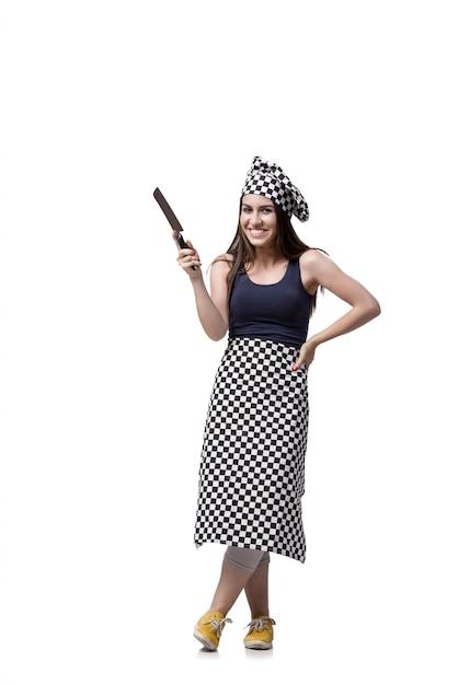 白で隔離される若い女性クック Premium写真