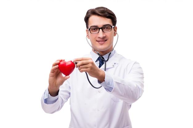 白で隔離の心を持つ医師 Premium写真