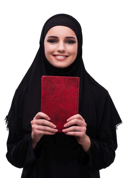 白で隔離黒のドレスでイスラム教徒の女性 Premium写真