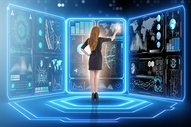 ビッグデータ管理のビジネスマン Premium写真