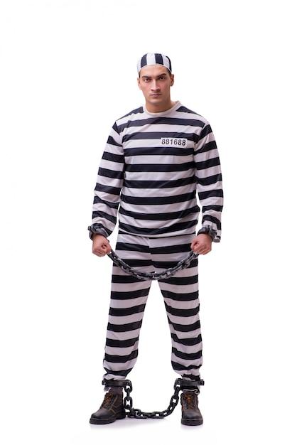 白で隔離される男性囚人 Premium写真