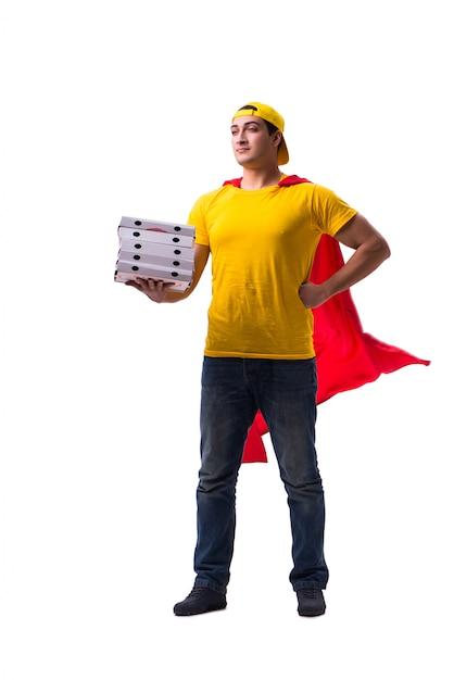 スーパーヒーローのピザ配達人の分離 Premium写真