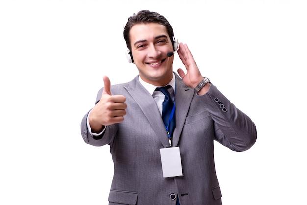 白で隔離されるヘッドセットを持つハンサムな男 Premium写真