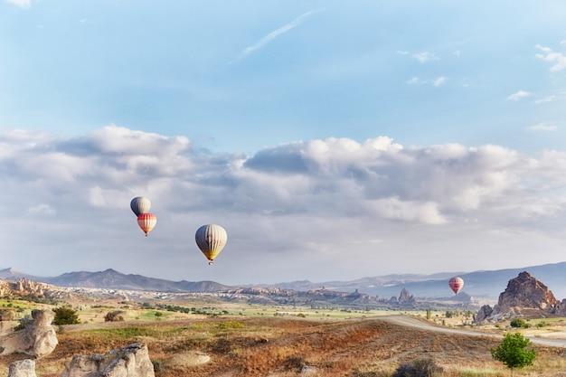 多くのカラフルな風船が空に飛び立つ Premium写真