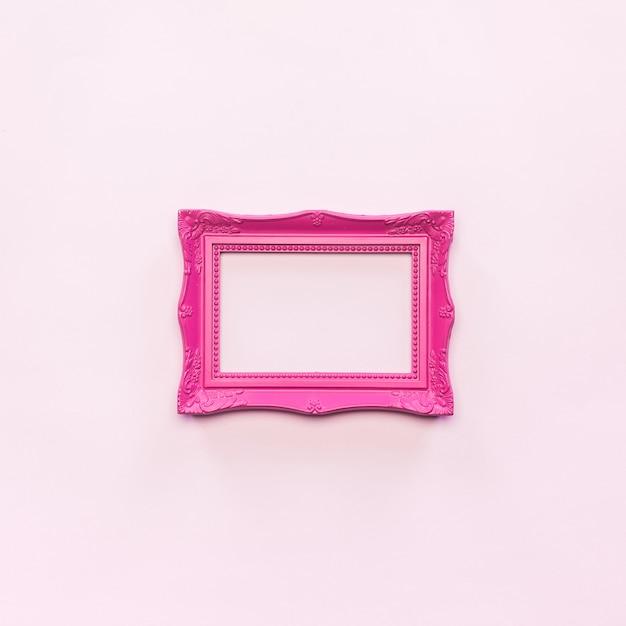 ピンクのビンテージ写真フレームと無料の写真の上の空のフレーム 無料写真