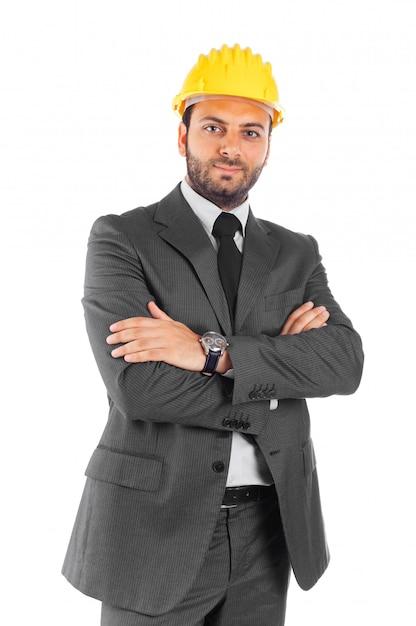 白い背景の上のハンサムな土木技師 Premium写真