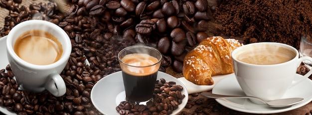 コーヒーバナーコラージュ Premium写真