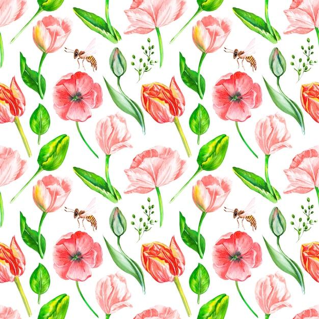 Узор из акварельных цветов и листьев Premium Фотографии