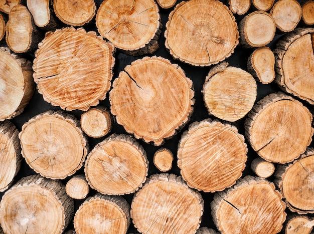 木の丸太の背景 Premium写真