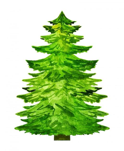 白い背景に分離された水彩画のクリスマスツリーシルエット Premium写真
