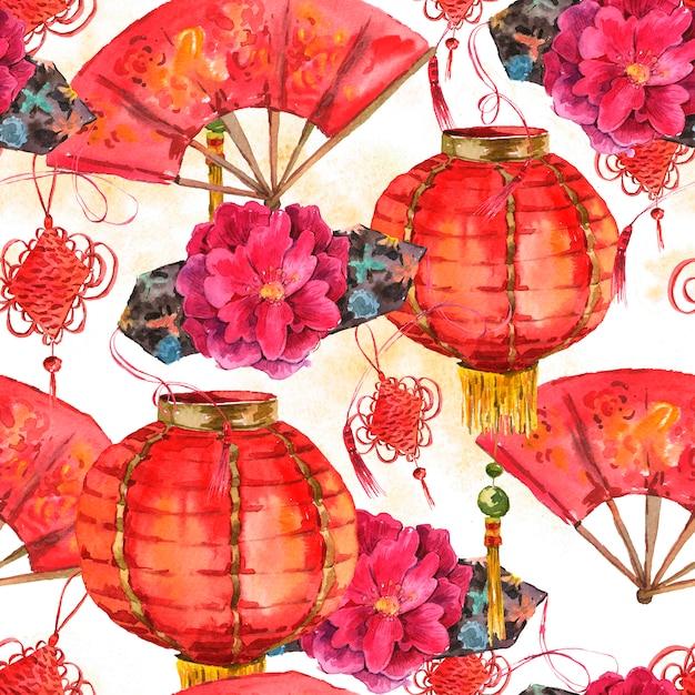 シームレスな水彩画の中国の旧正月の背景 Premium写真