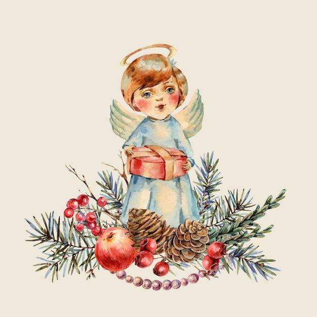 彼の手にギフトを持つ水彩クリスマスかわいい男の子はクリスマスの歌を歌います。モミの枝、赤いリンゴ、果実、松ぼっくり、ヴィンテージの植物図 Premium写真