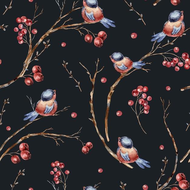 鳥、木の枝、赤い果実の水彩冬自然なシームレスパターン。 Premium写真