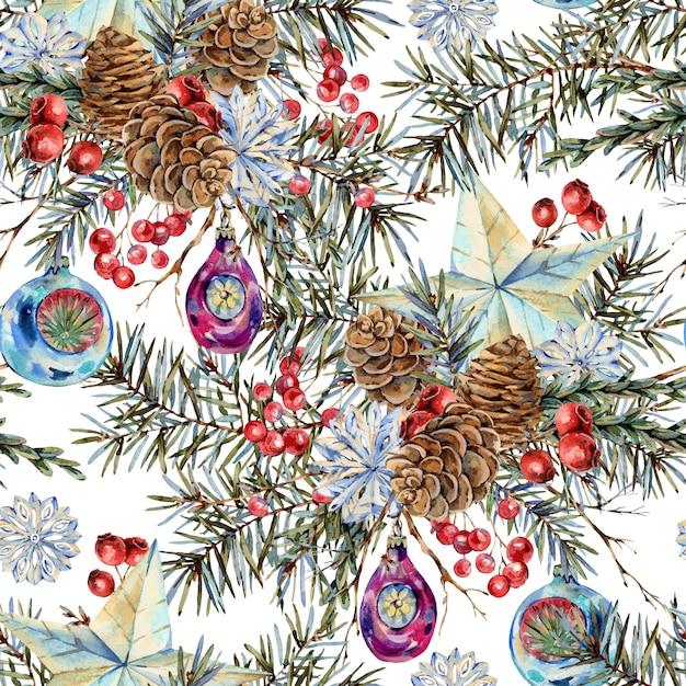モミの枝、星、松ぼっくり、ビンテージの植物テクスチャの自然な花束と水彩クリスマスシームレスパターン Premium写真