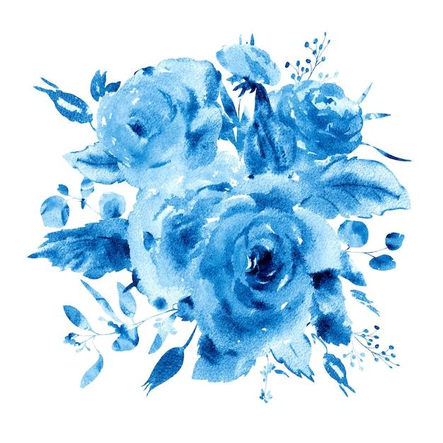 ラプリマスタイルの穏やかな水彩花柄グリーティングカード。赤、黄色、水彩のバラ-花、小枝、葉、芽。 Premium写真