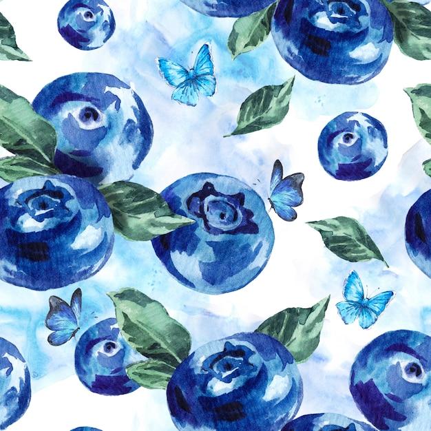 夏水彩ブルーベリーシームレス背景 Premium写真