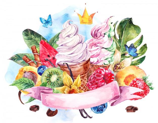 柔らかいイタリアンアイスクリームと水彩の背景 Premium写真